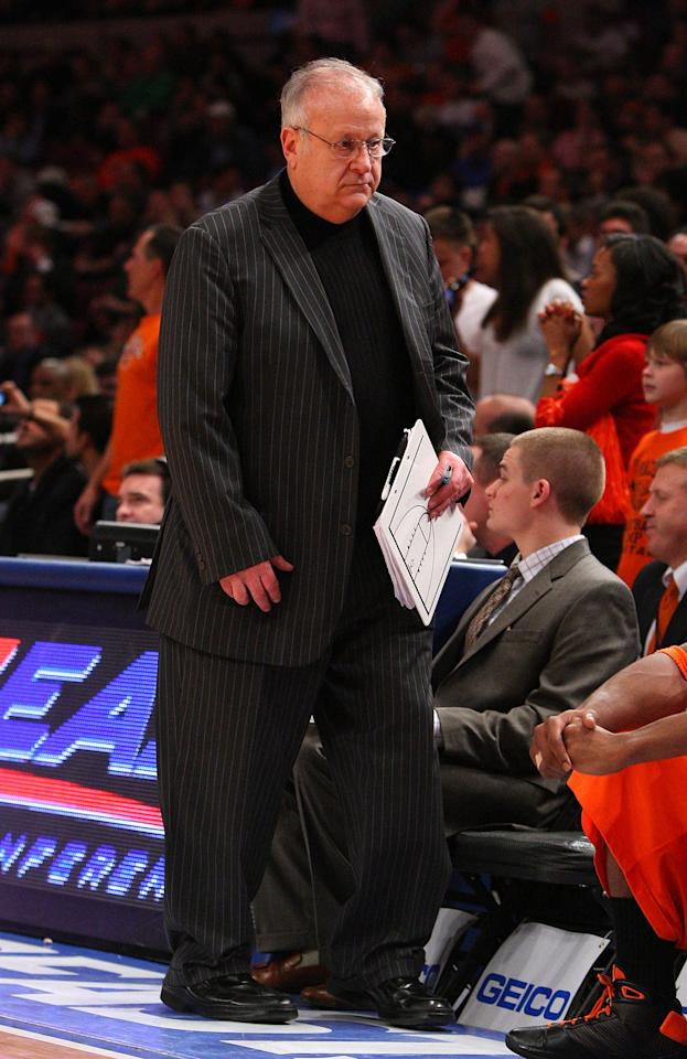 NEW YORK - MARCH 12:  Assistant coach Bernie Fine of the Syracuse Orange looks on from the sidelines during their game against the Connecticut Huskies during the quarterfinals of the Big East Tournament at Madison Square Garden on March 12, 2009 in New York City.  (Photo by Jim McIsaac/Getty Images)