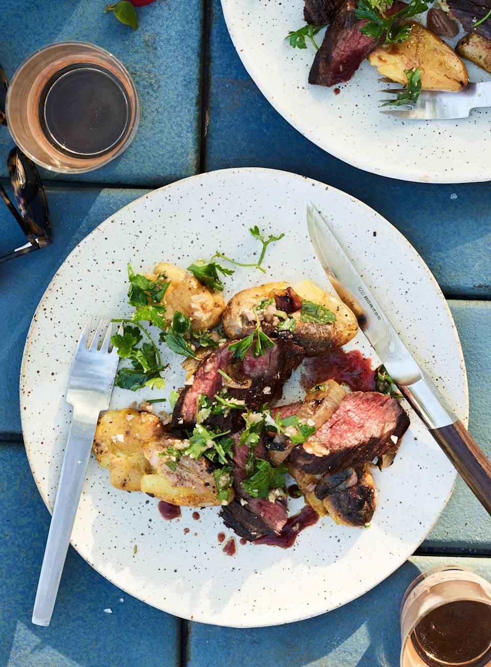 """Board dressing: take all of those flavorful juices that accumulate when the meat rests off your cutting board and pour them back over the meat, where they belong. <a href=""""https://www.bonappetit.com/recipe/skirt-steak-and-smashed-potatoes-with-herb-dressing?mbid=synd_yahoo_rss"""" rel=""""nofollow noopener"""" target=""""_blank"""" data-ylk=""""slk:See recipe."""" class=""""link rapid-noclick-resp"""">See recipe.</a>"""