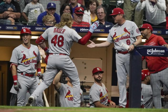 St. Louis Cardinals' Harrison Bader celebrates after hitting a three-run home run during the third inning of a baseball game against the Milwaukee Brewers Friday, Sept. 3, 2021, in Milwaukee. (AP Photo/Morry Gash)