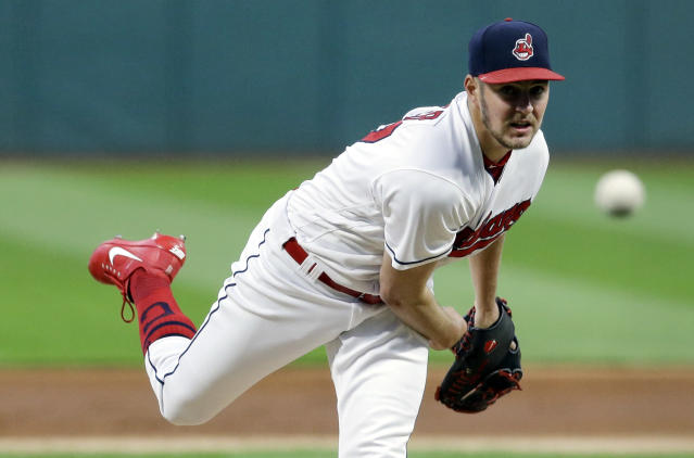 "<a class=""link rapid-noclick-resp"" href=""/mlb/players/9122/"" data-ylk=""slk:Trevor Bauer"">Trevor Bauer</a> hit a crazy number on the radar gun during a drill. (AP Photo/Tony Dejak)"