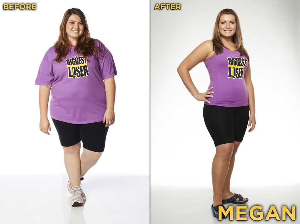"Megan was an inspiration to many young women. She just never realized how strong she was until her experience at the ranch. Like the child in so many other parent-child teams on ""The Biggest Loser,"" Megan was able to extend her stay at the ranch because her mother, Kimmy, sacrificed herself. She started the competition at 259 pounds, weighed 183 pounds at the finale, and thus lost 29.34% during the season. She also got engaged recently and has asked Conda to be a bridesmaid!"