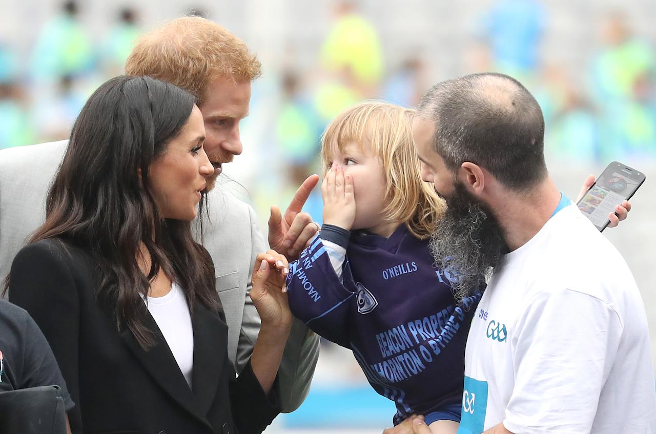 <p>Prince Harry and the Duchess of Sussex visit Croke Park, home of Ireland's largest sporting organization, the Gaelic Athletic Association, during their visit to Ireland. (Photo by Getty Images) </p>