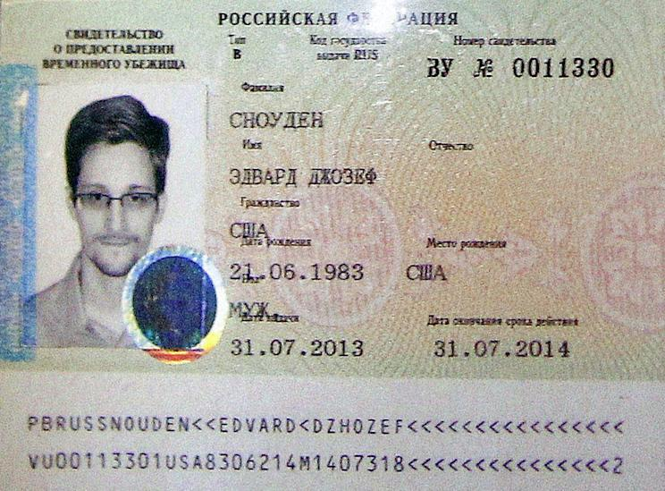 The document granting Snowden asylum in Russia.