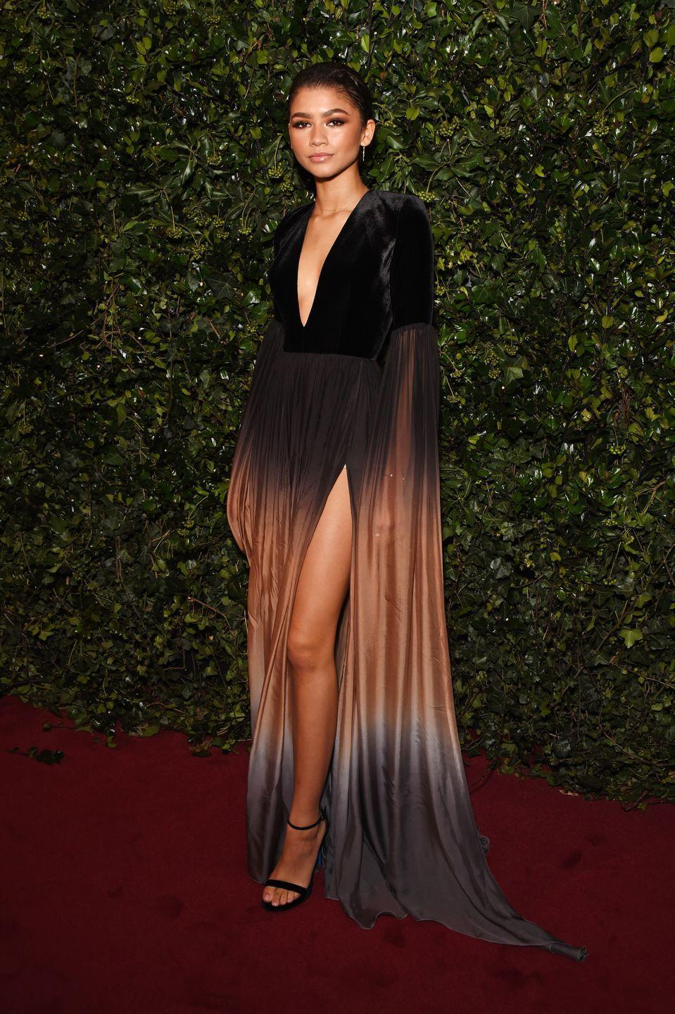 """<p>Zendaya wore Elie Saab<span class=""""redactor-invisible-space""""> to the London Evening Standard Awards, December 2017.</span></p>"""