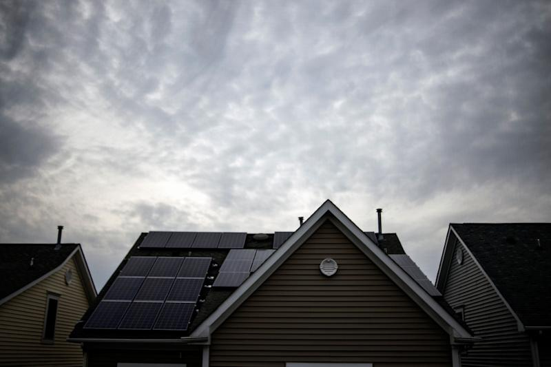Solar panels on the roof of a house in Rockville, Maryland.  (Photo: J. Lawler Duggan/For The Washington Post via Getty Images)