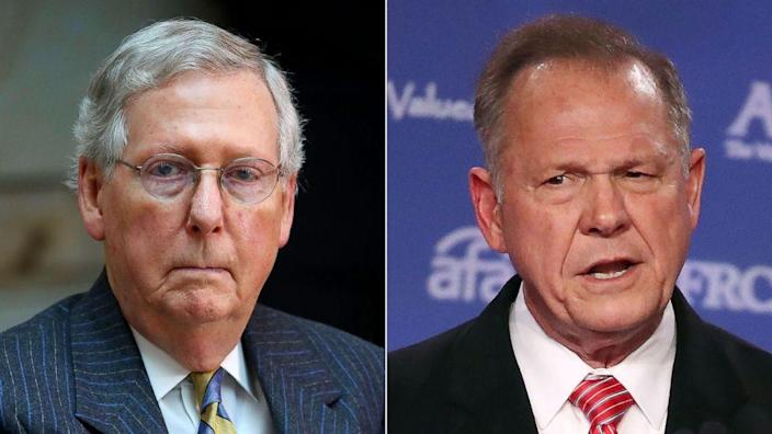 "Sen. Majority Leader Mitch McConnell, left, on allegations against Roy Moore, right: ""I believe the women, yes."" (Photo: ABC News)"
