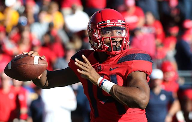 Arizona QB Khalil Tate struggled at times last season, but he has a chance to remind people of his athletic gifts. (Getty Images)