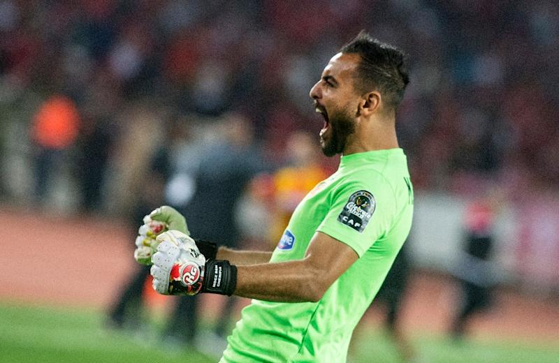 Esperance's goalkeeper Moez Ben Cherifia celebrates a goal during the CAF Champions League final between Morocco's Wydad Athletic Club and Tunisia's Esperance Sportive de Tunis (AFP Photo/FADEL SENNA)