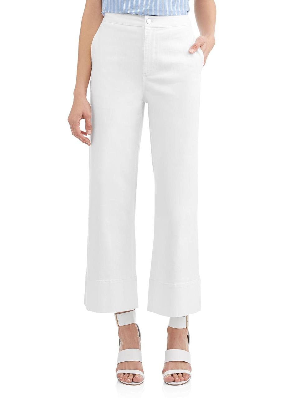 "<h3>Flare Crop White Jeans</h3><p>Want to dip your toes in the sailor pant trend for the low, low price of $38? These cropped, ever-so-slightly flared trousers will take you through the summer without breaking the bank even a little.</p><br><br><strong>Textile</strong> Women's Parker Flare Crop Jean, $38, available at <a href=""https://www.walmart.com/ip/Women-s-Parker-Flare-Crop-Jean/593728991"" rel=""nofollow noopener"" target=""_blank"" data-ylk=""slk:Walmart"" class=""link rapid-noclick-resp"">Walmart</a>"