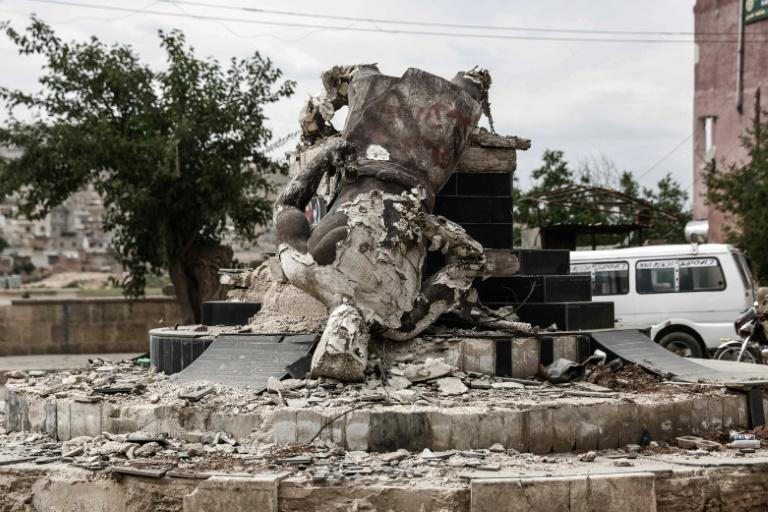 Turkey and allied Syrian rebels captured the Kurdish enclave of Afrin last year, destroying a statue of a legendary Kurdish figure there (AFP Photo/Sameer Al-Doumy)