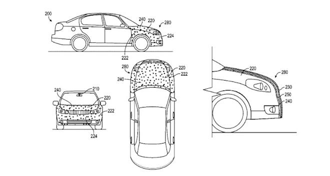 Google's patent called Adhesive vehicle front end