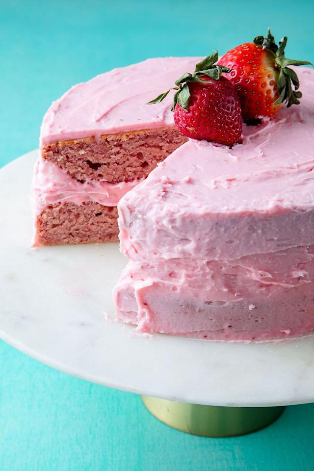 "<p>This pink cake couldn't be cuter.</p><p>Get the recipe from <a href=""https://www.delish.com/cooking/recipe-ideas/a19624120/homemade-strawberry-cake-recipe/"" target=""_blank"">Delish</a>.</p>"