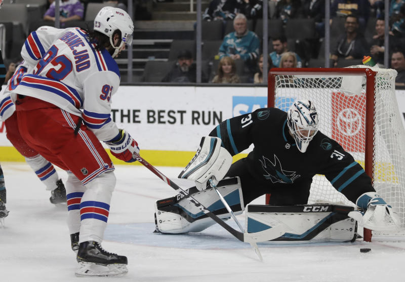 Rangers spoil Boughner's debut with 6-3 win over Sharks