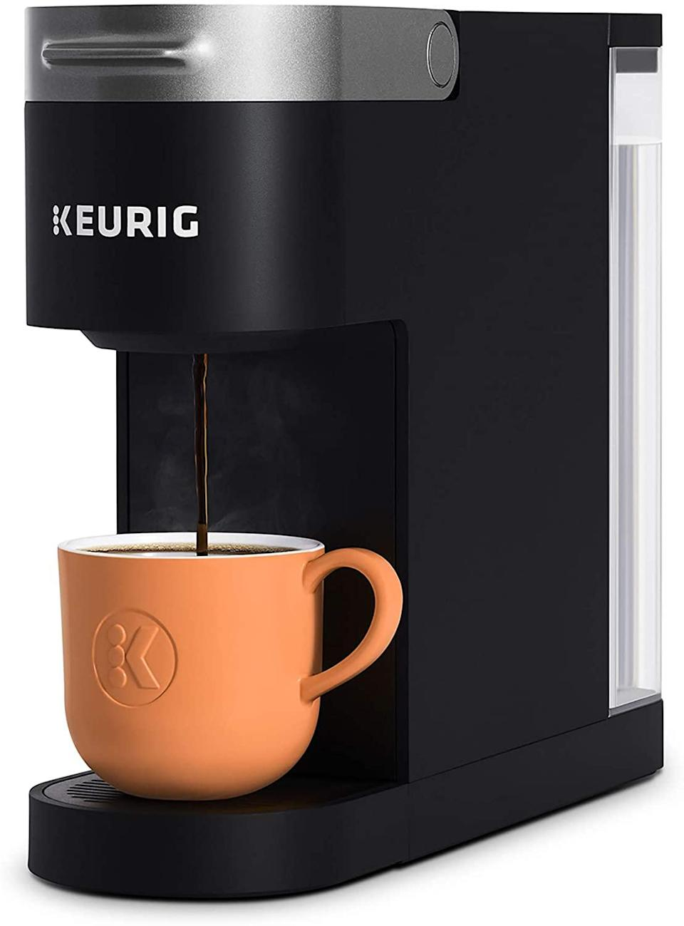 "<h2>36% Off Keurig K-Slim Coffee Maker</h2><br>For your best bean buds — this Amazon's Choice Keurig model is ready to brew them up a single-serve cup of their favorite java with a side of countertop-space-saving design. <br><br><strong>Keurig</strong> K-Slim Coffee Maker, $, available at <a href=""https://amzn.to/3og2fPr"" rel=""nofollow noopener"" target=""_blank"" data-ylk=""slk:Amazon"" class=""link rapid-noclick-resp"">Amazon</a>"