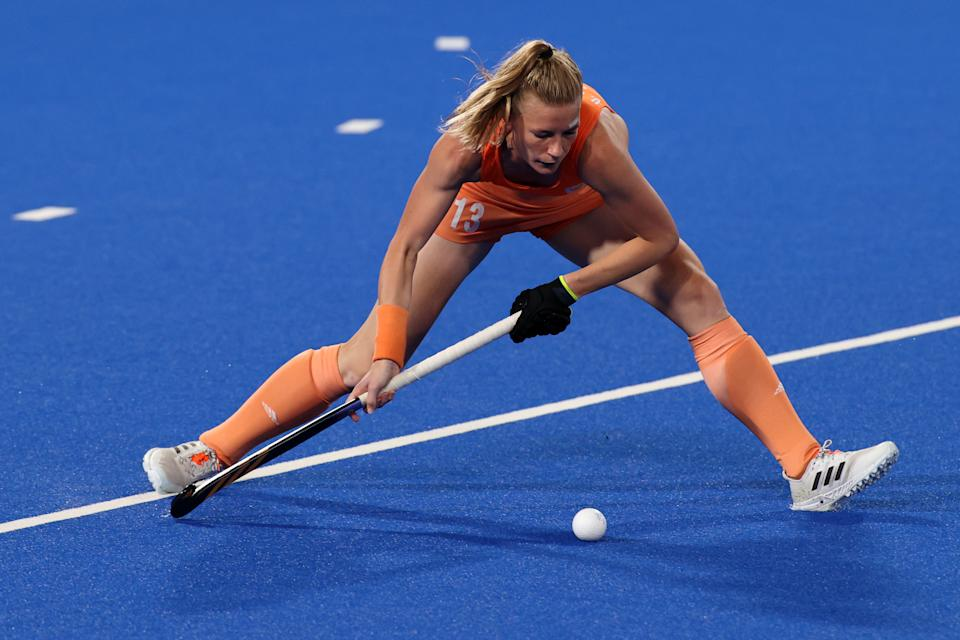 <p>Caia Jacqueline van Maasakker of Team Netherlands passes the ball during the Women's Gold Medal match between Netherlands and Argentina on day fourteen of the Tokyo 2020 Olympic Games at Oi Hockey Stadium on August 06, 2021 in Tokyo, Japan. (Photo by Clive Mason/Getty Images)</p>