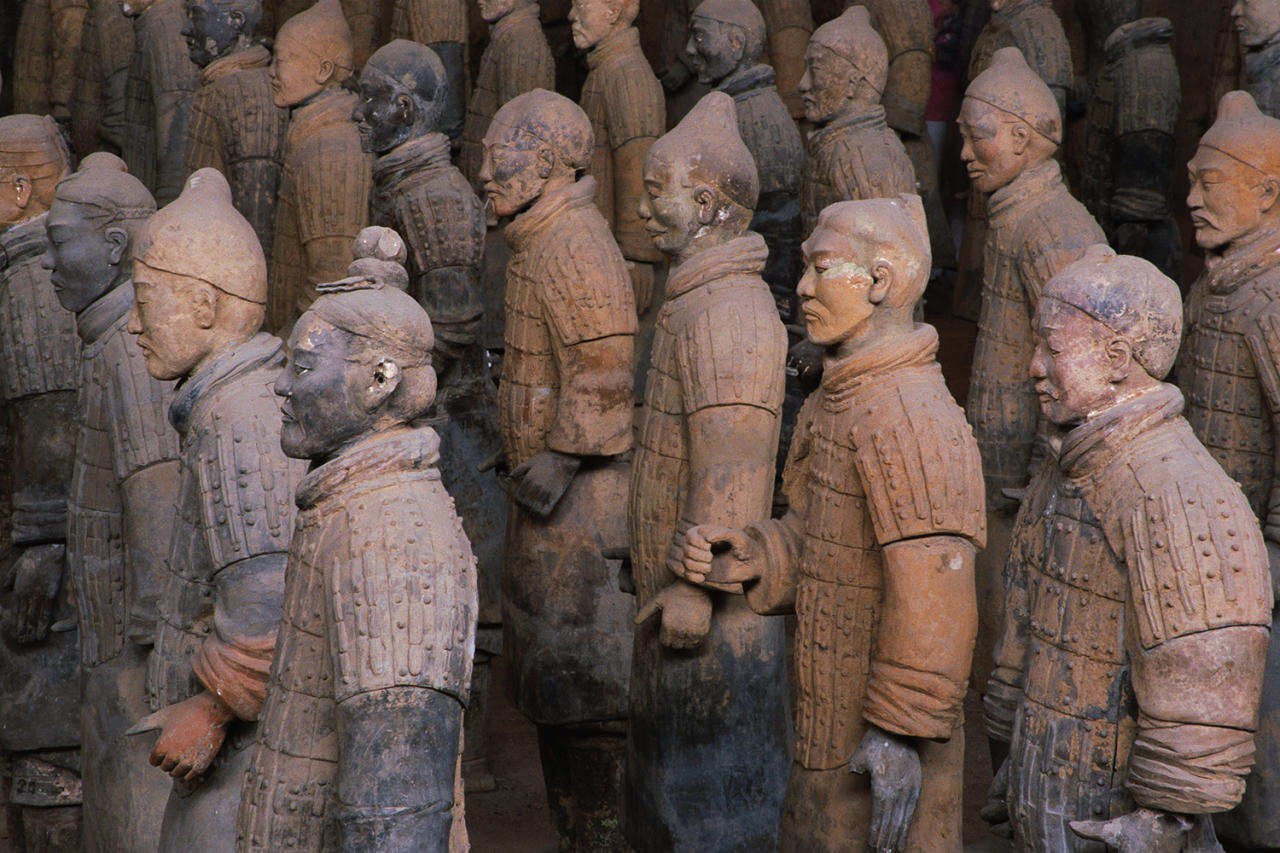 <p>China is a close second for the largest number of UNESCO sites: 50. The more than 8,000 terracotta statues at the Mausoleum of the First Qin Emperor (Qin Shi Huang) near Xi'an were discovered in 1974; the tomb has still not been completely excavated. Each statue of the emperor's armed retinue is unique, with its own features and weapons. World Heritage site since 1987. (Photo: China Span LLC/Corbis via Getty Images) </p>