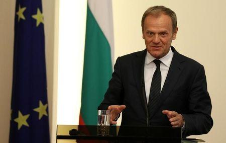 European Council President Tusk speaks during a joint news conference with Bulgaria's President Radev in Sofia