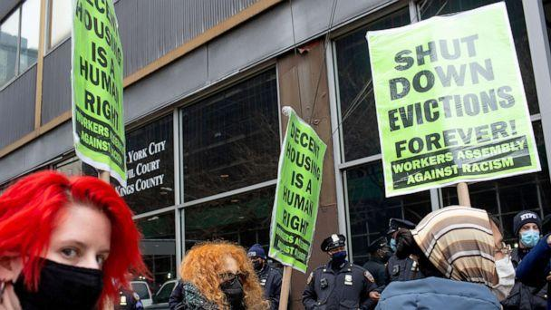 PHOTO: On the day that New York State's COVID-19 moratorium on rent expires, tenant rights activists hold a demonstration outside Civil Court in Brooklyn, New York, March 1, 2021. (Corbis via Getty Images, FILE)