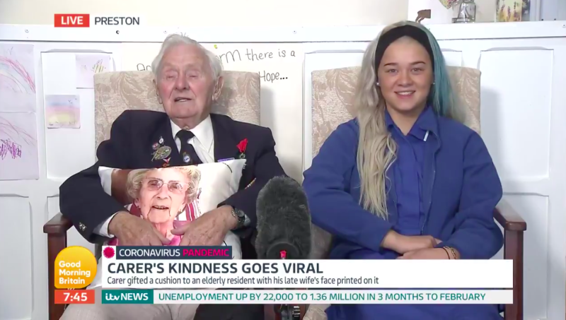 94-year-old Ken Benbow has won the hearts of the nation after his touching reaction to receiving a cushion with his late wife's image on it from his carer. (ITV)