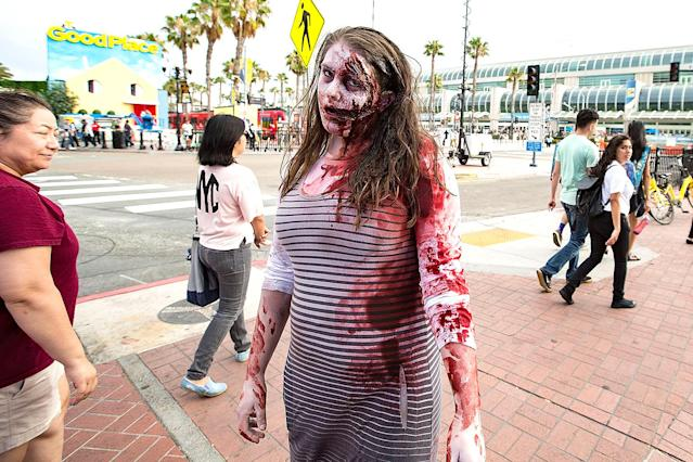 <p>A cosplayer is covered in (fake) blood at Comic-Con International on July 18, 2018, in San Diego. (Photo: Daniel Knighton/Getty Images) </p>