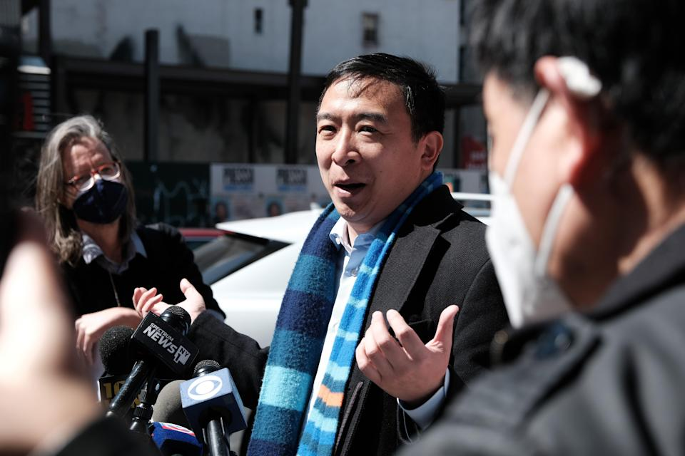 <p>File Image: New York Mayoral Candidate Andrew Yang speaks to members of the media along Canal Street in Chinatown on 5 April 2021 in New York City</p> (Getty Images)
