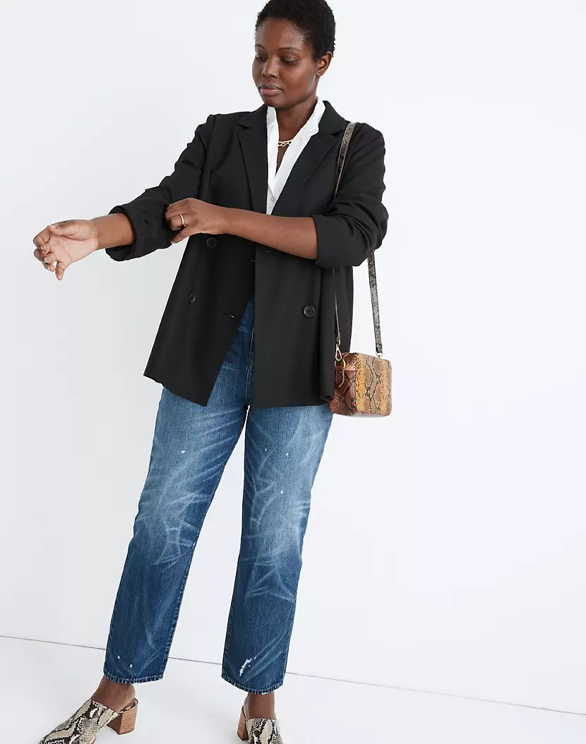 """<br><br><strong>Madewell</strong> Caldwell Double Breasted Blazer, $, available at <a href=""""https://go.skimresources.com/?id=30283X879131&url=https%3A%2F%2Fwww.madewell.com%2Fcaldwell-double-breasted-blazer-MA637.html"""" rel=""""nofollow noopener"""" target=""""_blank"""" data-ylk=""""slk:Madewell, Nordstrom"""" class=""""link rapid-noclick-resp"""">Madewell, Nordstrom</a>"""