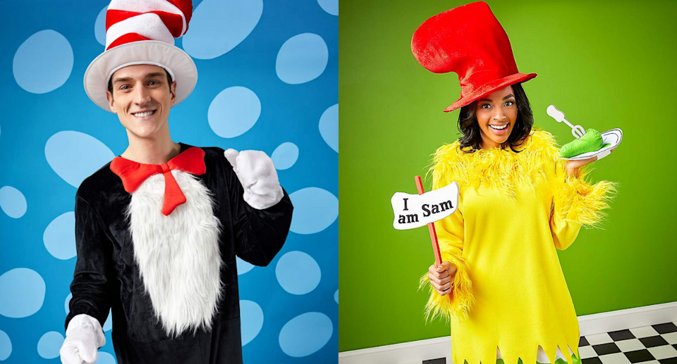 man and woman wearing Dr. Seuss Cat-in-the-Hat & Sam-I-Am Costumes