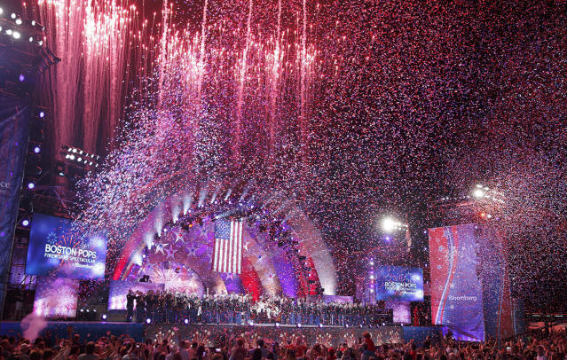 <p>Fireworks shoot from the Hatch Shell as confetti falls during the annual Boston Pops Fireworks Spectacular on the Esplanade, Tuesday, July 4, 2017, in Boston. (AP Photo/Michael Dwyer) </p>