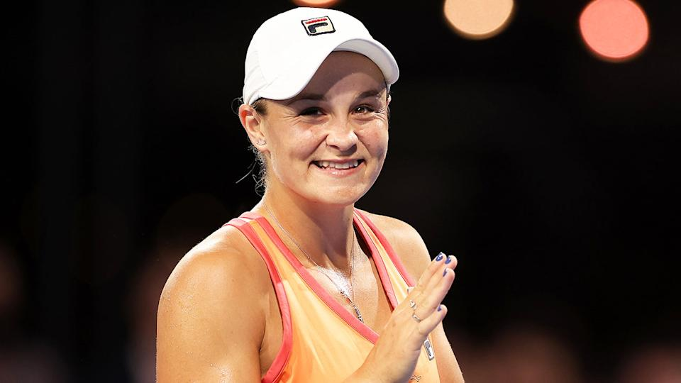 Ash Barty (pictured) smiles during the exhibition tournament in Adelaide.
