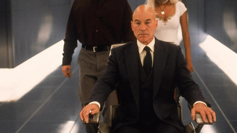 Patrick Stewart in 2000 superhero movie 'X-Men'. (Credit: Fox/Disney)