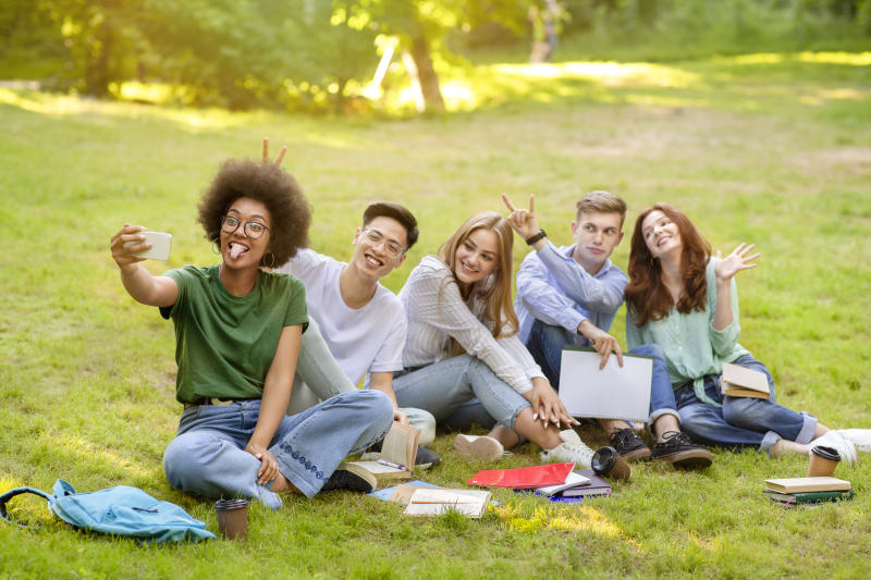 Selfie Fun. Group Of Multiracial Students Fooling While Taking Group Photo Outdoors, Posing On Lawn In Campus, Free Space