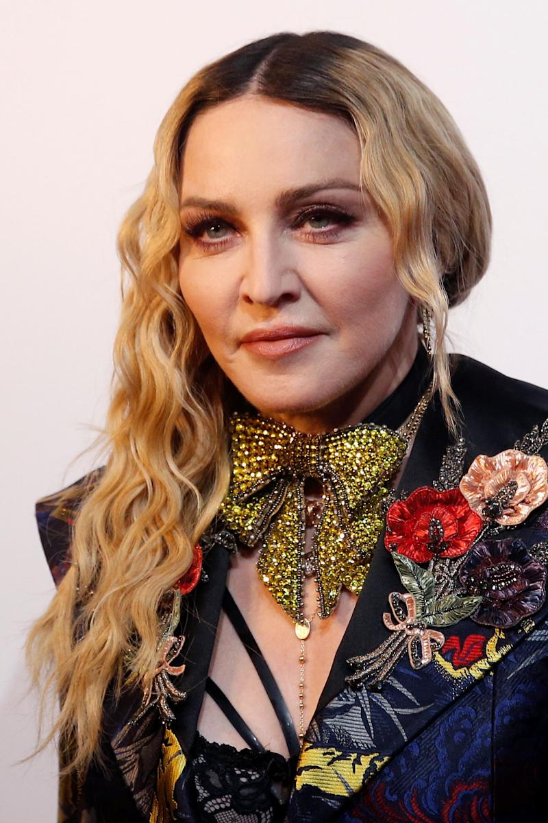 Madonna poses on the red carpet a the Billboard Magazine's 11th annual Women in Music luncheon in New York
