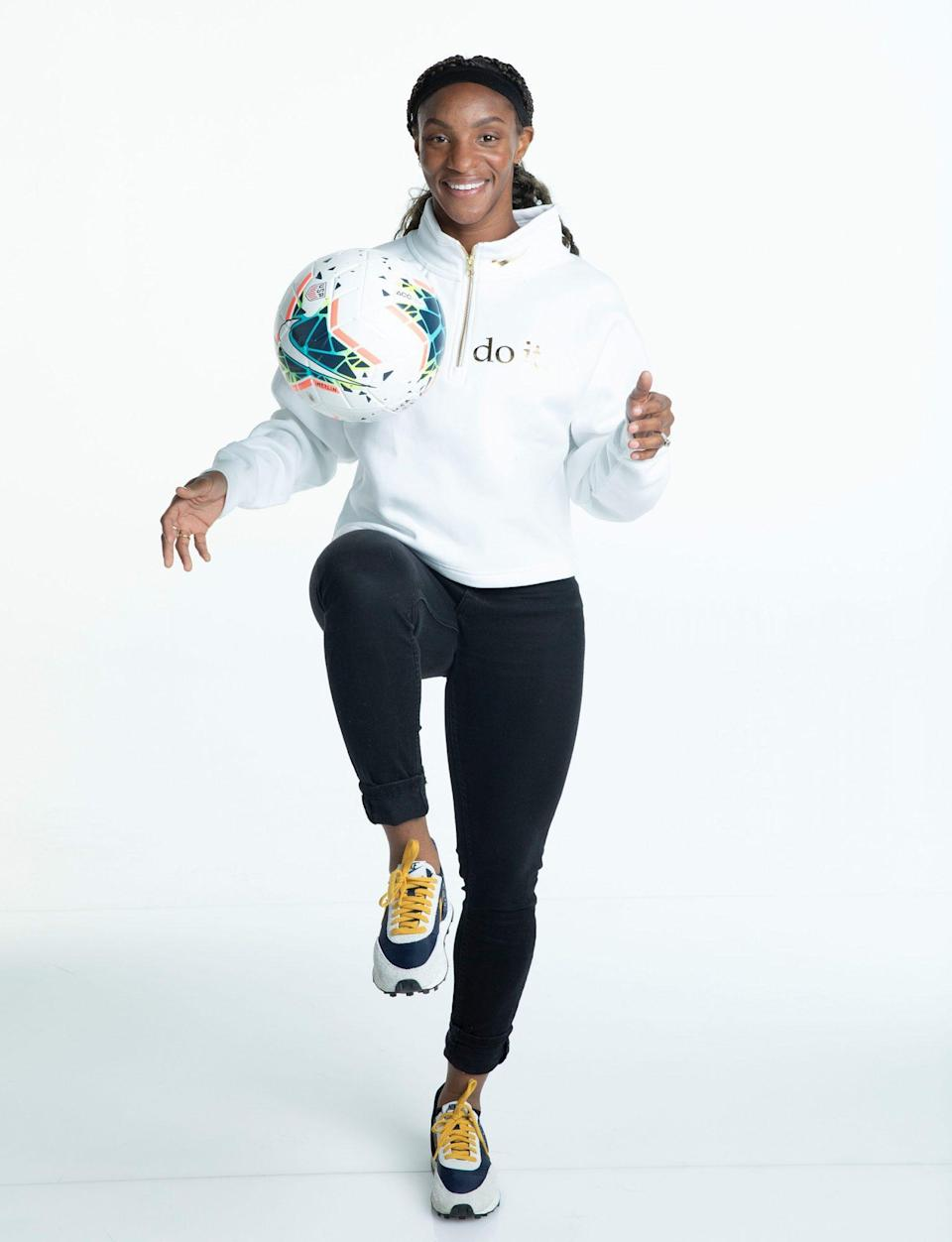 "<p>Dunn, 28, has played with the U.S. Women's National soccer team on-and-off since 2013 and helped the team win the 2019 Women's World Cup. The soccer champion plays multiple positions for her current club, the North Carolina Courage. Dunn joined her national team teammates in pushing for pay equity, <a href=""https://people.com/sports/crystal-dunn-interview-soccer-world-cup/"" rel=""nofollow noopener"" target=""_blank"" data-ylk=""slk:and previously told PEOPLE"" class=""link rapid-noclick-resp"">and previously told PEOPLE</a>, ""We feel like as athletes we don't just kick a ball for a living. We're human beings, we have feelings and we have a way that we want to live life.""</p>"