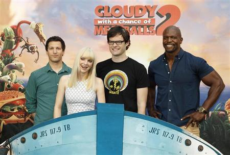 "(L-R) Andy Samberg, Anna Faris, Bill Hader and Terry Crews, voice talents from the new Sony Pictures Animation film ""Cloudy with a Chance of Meatballs 2"", pose during a photo call in Beverly Hills, California September 15, 2013."