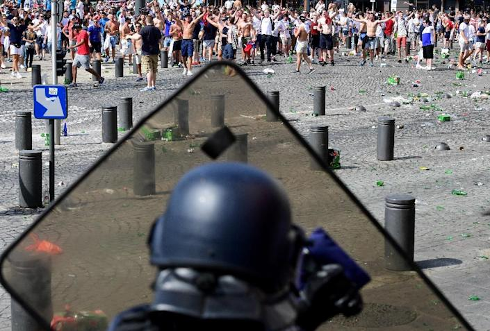 Security forces have fired tear gas to disperse fighting football fans for a third day in a row, just hours before England play Russia, one of five games in Euro 2016 classed as high-risk for hooliganism (AFP Photo/Leon Neal)