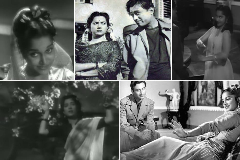 Waheeda Rehman, Dev Anand, and Shakila in CID. Athaiya's Hindi film career began with this Raj Khosla movie.