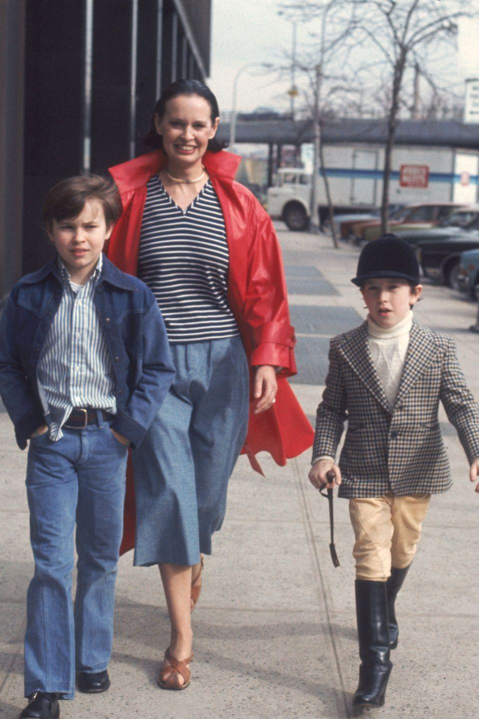 <p>Vanderbilt and her sons, Carter and Anderson, in New York City. </p>