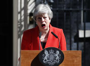 Today Theresa May announced in an emotional speech that she'll quit as UK Conservative leader on June 7, sparking contest for Britain's next prime minister. Her voice even began to break at the end of her address. (AP/Alastair Grant)