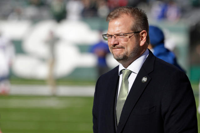 FILE - In this Jan. 1, 2017, file photo, New York Jets general manager Mike Maccagnan looks on prior to an NFL football game against the Buffalo Bills, in East Rutherford, N.J. The Jets called an aggressive audible by trading up to the No. 3 pick last month to assure themselves of getting one of the top quarterbacks available in the NFL draft. Now comes the toughest play call of all. Sam Darnold? Baker Mayfield? Josh Rosen? Josh Allen? You just want to get it right, general manager Mike Maccagnan said. (AP Photo/Seth Wenig, File)