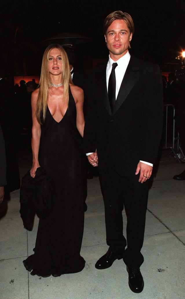 Jennifer Aniston and Brad Pitt at the Vanity Fair Party in March 2000. (Photo: Evan Agostini/Getty Images)