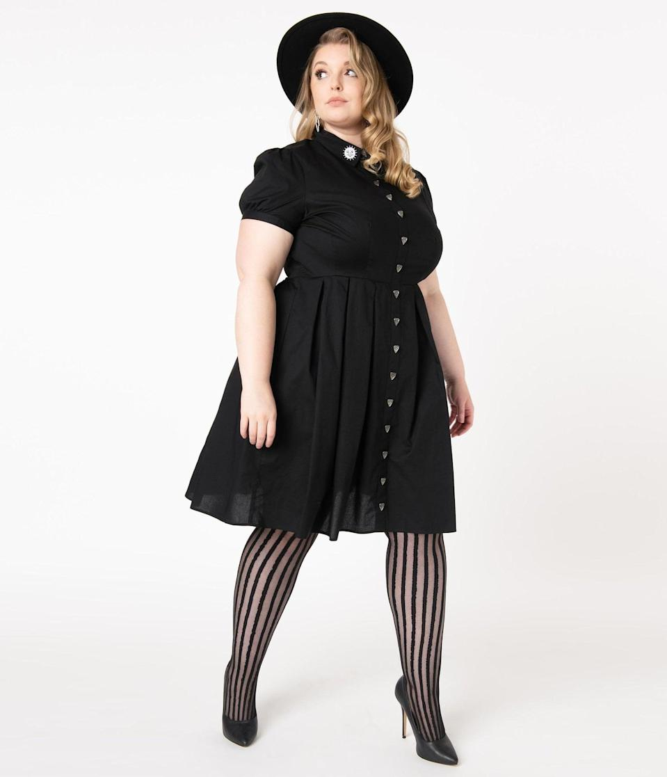 <p>The <span>Hell Bunny Plus Size 1950s Black Samara Swing Dress</span> ($82) is already spooking us out. </p>