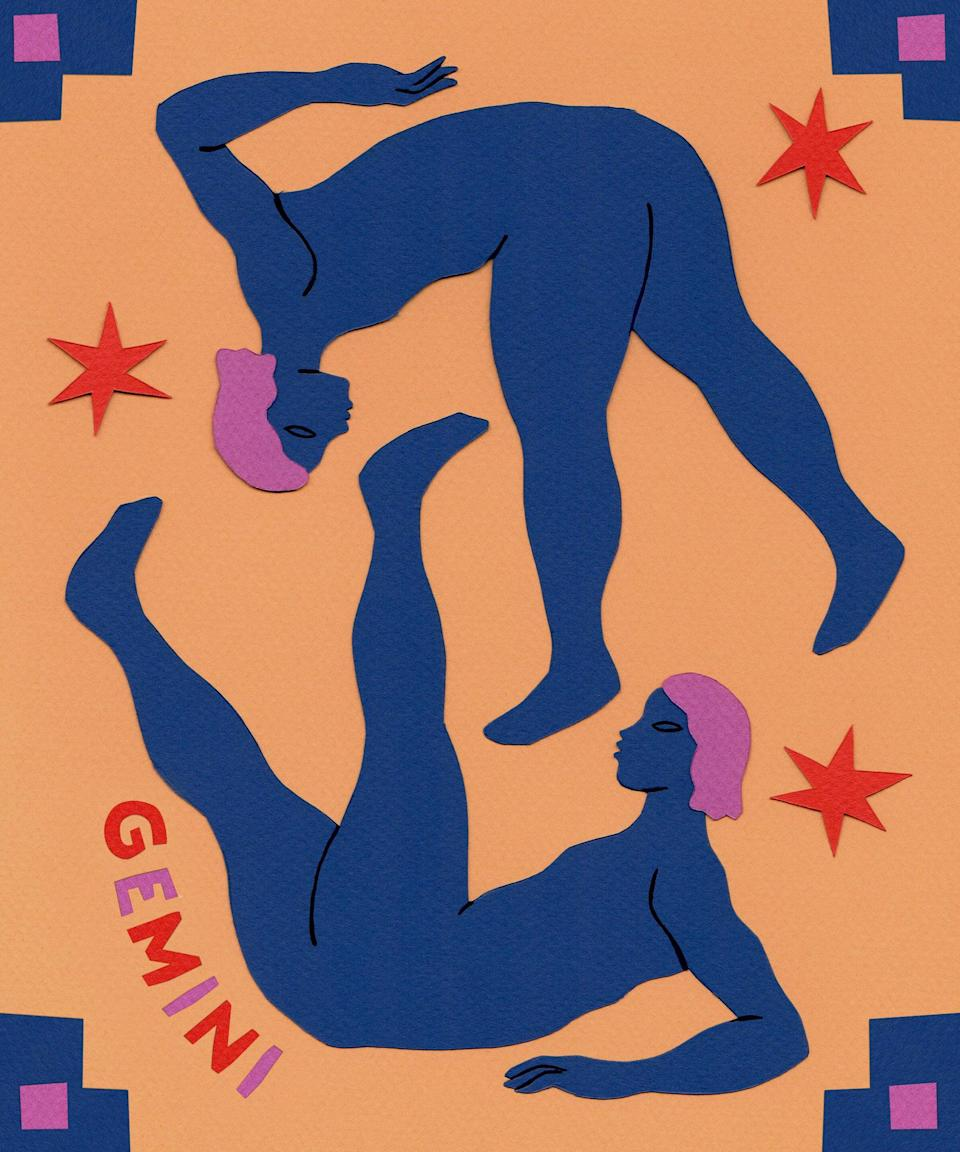 """<strong>Gemini</strong><br><strong>May 21 to June 20</strong><br><br><br>Are you ready to evolve, Gemini? Enjoy flexing your mind beginning January 8, when ruling Mercury enters unconventional Aquarius. Let this anything-is-possible transit help to open new conversations and friendships. Meditate on how you can set a powerful intention on January 13, when your money-ruling <a href=""""https://www.refinery29.com/en-us/moon-phases-meaning-astrology"""" rel=""""nofollow noopener"""" target=""""_blank"""" data-ylk=""""slk:Moon begins a new cycle"""" class=""""link rapid-noclick-resp"""">Moon begins a new cycle</a> in practical Capricorn. This moon phase is supported by a conjunction with health- and work-ruling Pluto, encouraging you to be ultra-aware of the impact of your actions. Reflect and manifest on January 28, when the financial-minded Moon waxes full in expansive Leo. You could be ready to take on an exciting new mental challenge for yourself beginning January 19, when the Sun enters your 9th house of exploration, adventure, and belief. Prioritize researching places and spaces that inspire you, and see what sticks during this intellectual transit. Try not to rush yourself starting on January 30, as ruling Mercury stations retrograde in innovative Aquarius. You're encouraged to enjoy your journey and be ultra conscious of your actions while the messenger planet moves in reverse. <span class=""""copyright"""">Illustrated By Vero Romero </span>"""