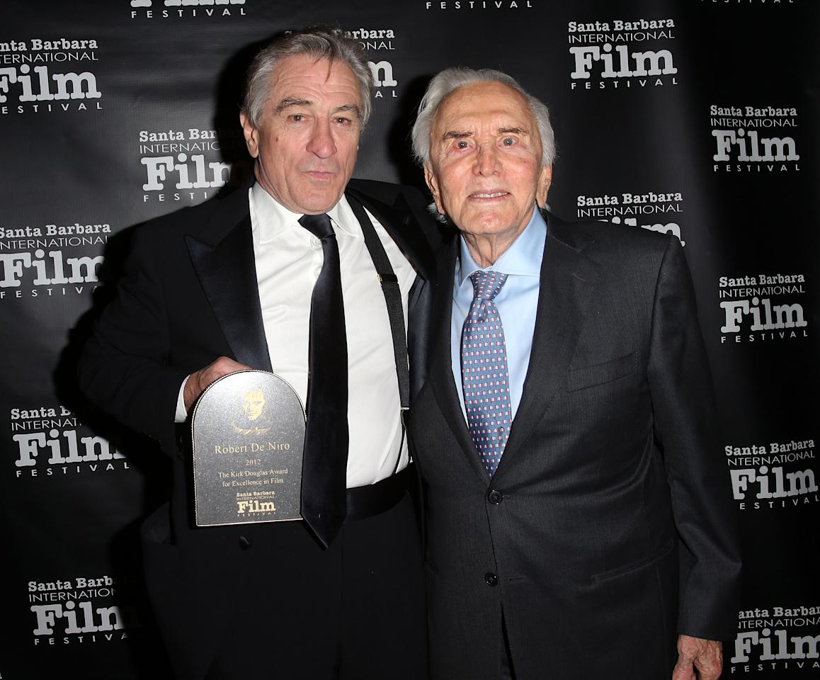 GOLETA, CA - DECEMBER 08: Actor Robert De Niro (L) and Kirk Douglas attends the SBIFF's 2012 Kirk Douglas Award for Excellence In Film during the Santa Barbara Film Festival on December 8, 2012 in Goleta, California.  (Photo by Frederick M. Brown/Getty Images)