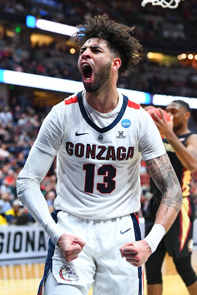 <p>Gonzaga guard Josh Perkins (13) reacts to a basket during the NCAA Division I Men's Championship Sweet Sixteen round basketball game between the Florida State Seminoles and the Gonzaga Bulldogs on March 28, 2019 at Honda Center in Anaheim, CA. (Photo by Brian Rothmuller/Icon Sportswire via Getty Images) </p>