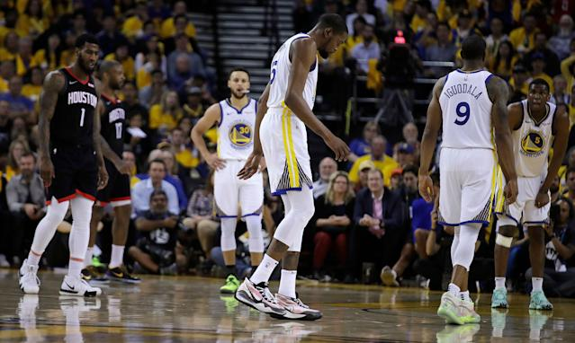 Golden State Warriors forward Kevin Durant has not played since injuring his calf in Game 5 of the Western Conference semifinals. (AP/Ben Margot)