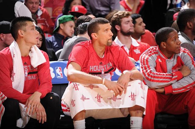 HOUSTON, TX - JANUARY 16: Francisco Garcia #32 of the Houston Rockets sits on the bench during the game against the Oklahoma City Thunder on January 16, 2014 at the Toyota Center in Houston, Texas. (Photo by Bill Baptist/NBAE via Getty Images)