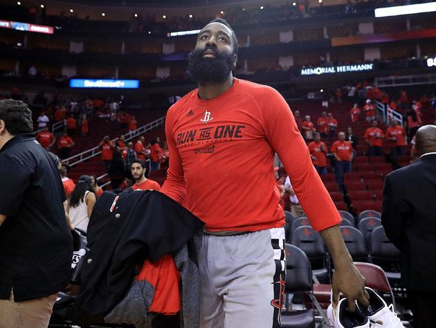 James Harden leaves the court on Thursday. (Getty Images)
