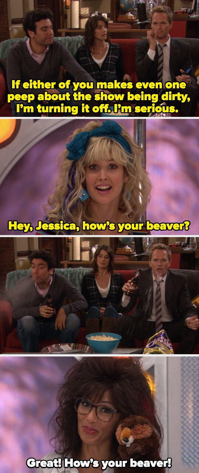 Nicole guest-starring as a cohost on a 90s TV show alongside Robin Sparkles