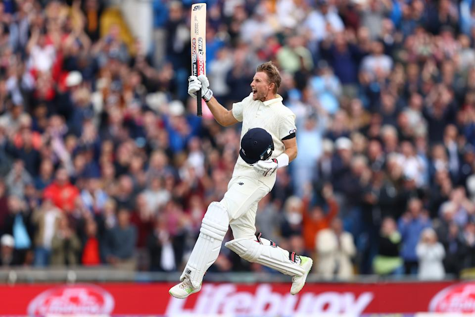Pictured here, England captain Joe Root celebrates a century against India in the third Test.
