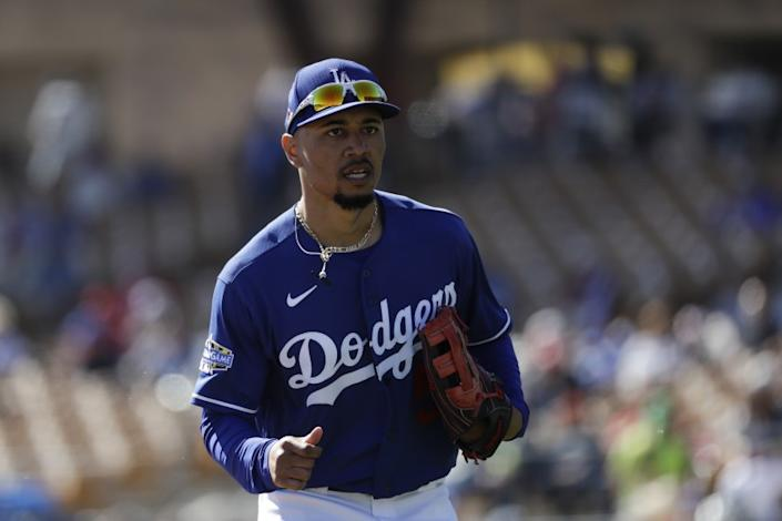 Los Angeles Dodgers right fielder Mookie Betts during the first inning of a spring training baseball game.